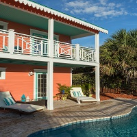 St. Augustine rental property, private home, caribbean colors, coral and turquoise house, private pool, Vilano Beach